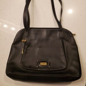 (Free Shipping) Black Leather Courreges purse